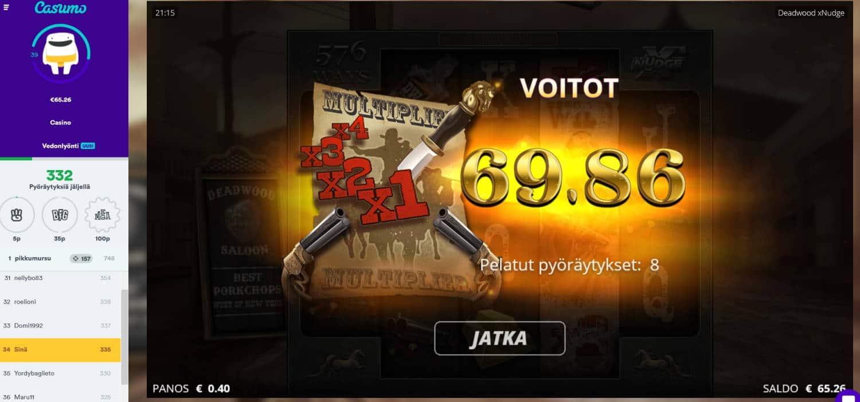 Deadwood Casino win picture by Mrmork666 28.1.2021 69.86e 175 X Casumo