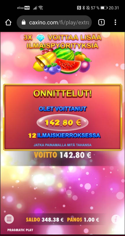 Extra Juicy Casino win picture by jyrkkenkloppi 8.2.2021 142.80e 143X Caxino