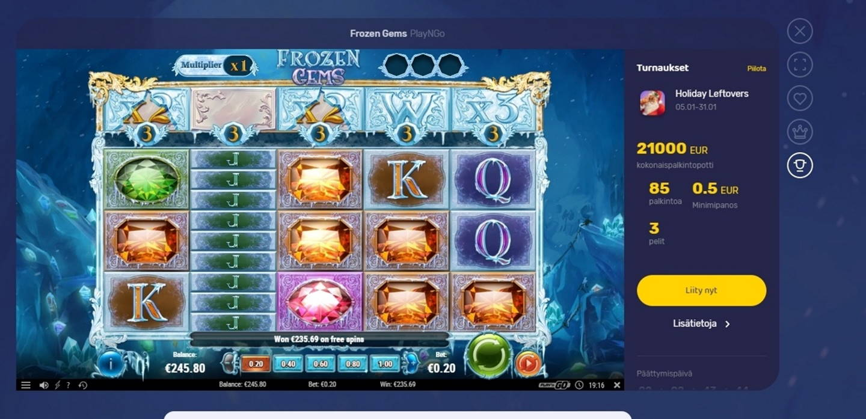 Frozen Gems Casino win picture by Tomezu 29.1.2021 235.69e 1178X