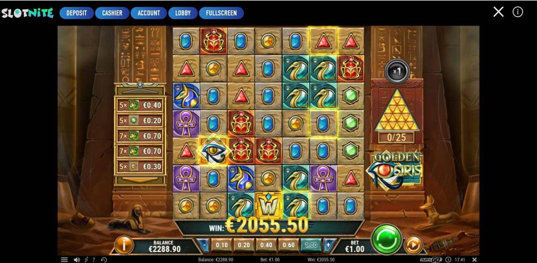 Golden Osiris Casino win picture by Tintti 15.2.2021 2055.55e 2056X Slotnite
