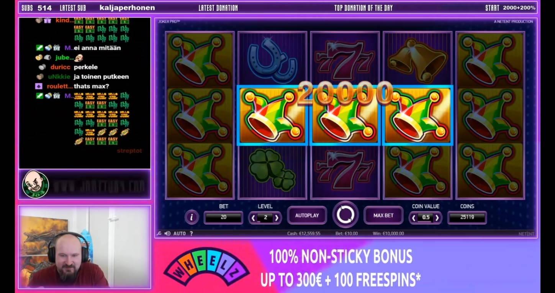 Joker Pro Casino win picture by Jarttu84 6.2.2021 10000e 1000X Wheelz