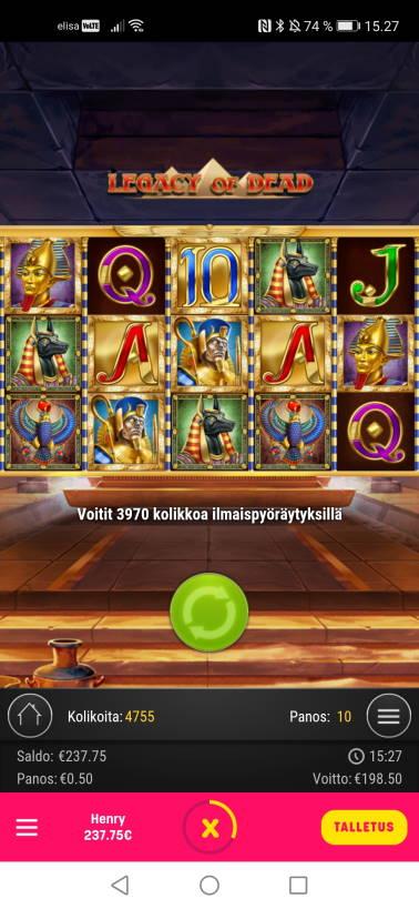 Legacy of Dead Casino win picture by jyrkkenkloppi 30.1.2021 198.50e 397X Caxino