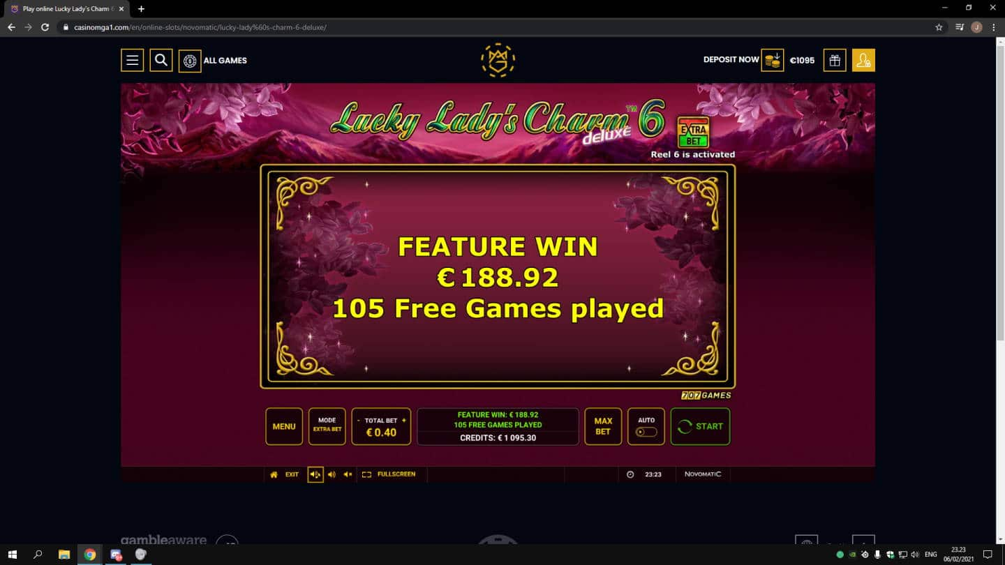 Lucky Ladys Charm 6 Casino win picture by jonkki 6.2.2021 188.92e 472X