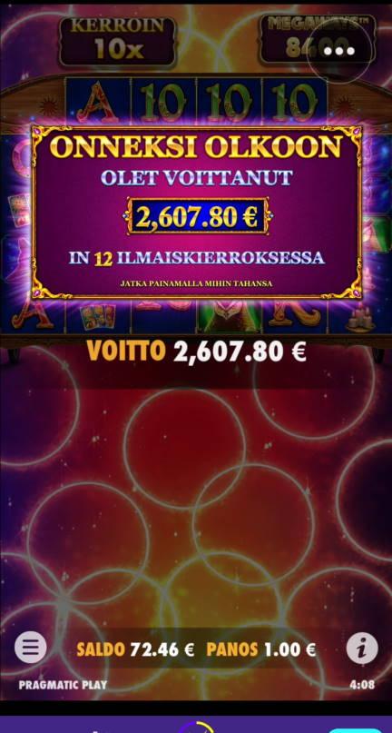 Madame Destiny Megaways Casino win picture by Salatheel 30.1.2021 2607.80e 2608X Wildz