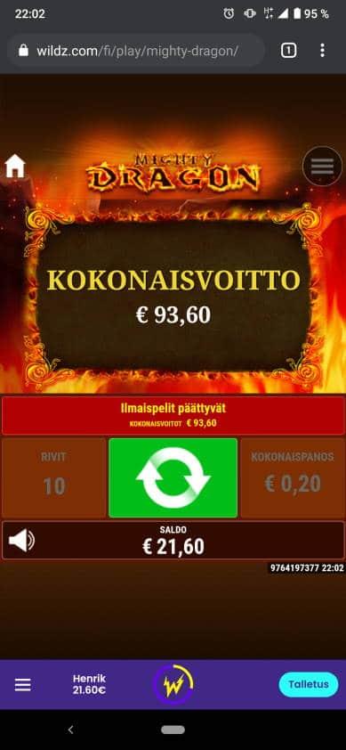 Mighty Dragon Casino win picture by Henkka1986 18.1.2021 93.60e 468X Wildz
