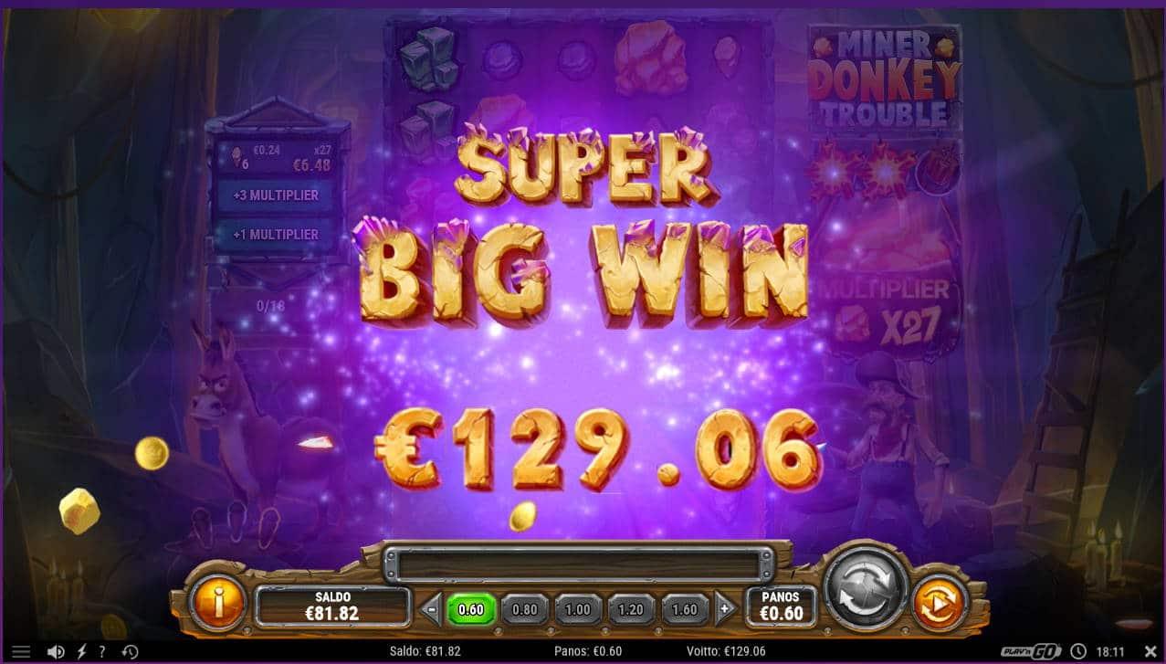 Miner Donkey Trouble Casino win picture by Kari Grandi 17.1.2021 129.06e 129.06e 215X