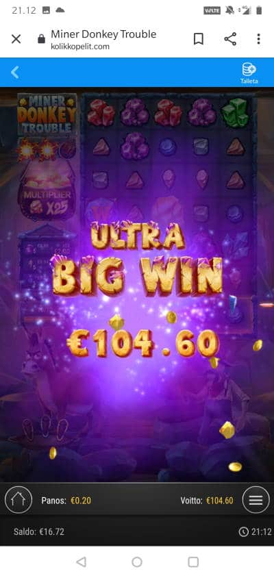 Miner Donkey Trouble Casino win picture by MikoTiko 17.1.2021 104.60e 523X Kolikkopelit