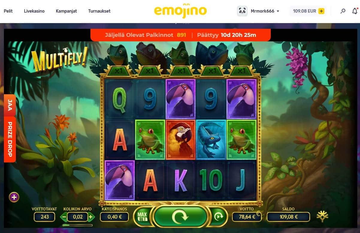 Multifly Casino win picture by Mrmork666 6.2.2021 78.64e 197X Emojino