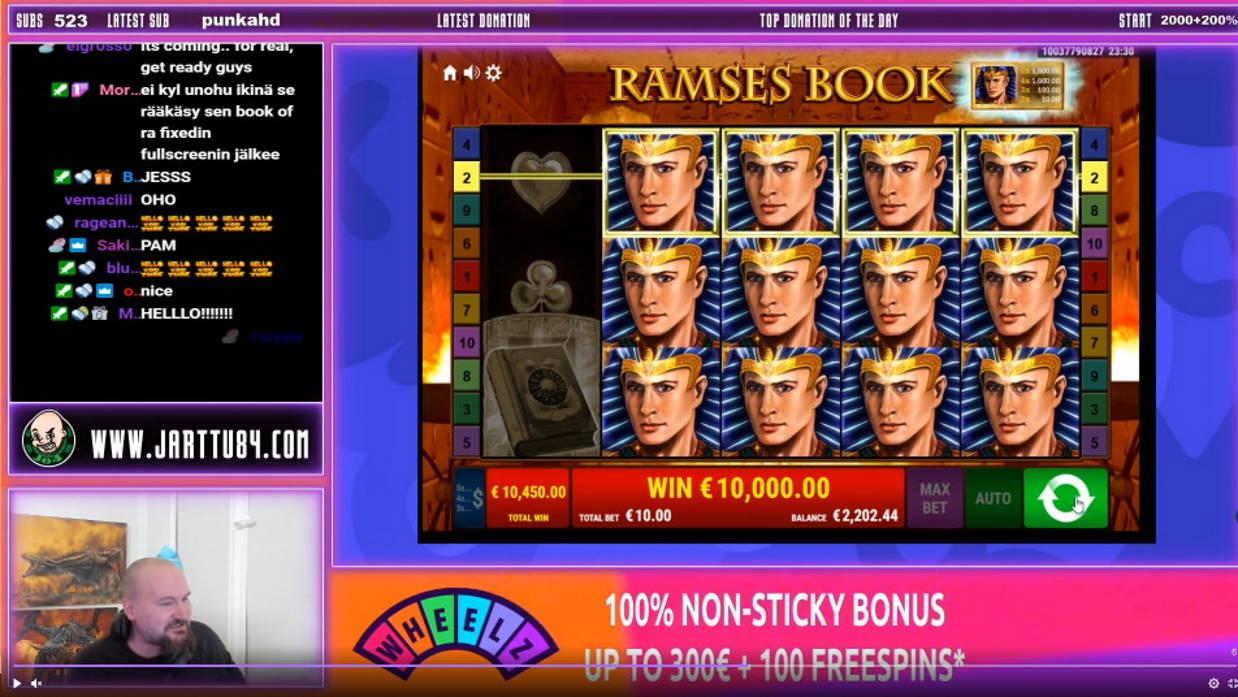 Ramses Book Casino win picture by Jarttu84 7.2.2021 10000e 1000X Wheelz