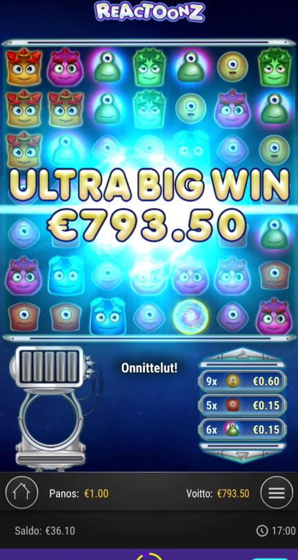 Reactoonz Casino win picture by Salatheel 20.1.2021 793.50e 794X Wildz