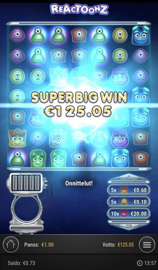 Reactoonz Casino win picture by Sonefinland 11.2.2021 125.05e 125X