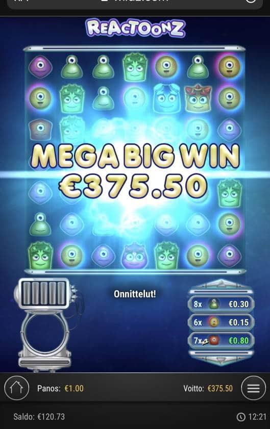 Reactoonz Casino win picture by Sonefinland 16.1.2021 375.50e 376X Wildz