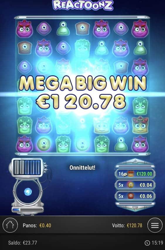 Reactoonz Casino win picture by Sonefinland 27.1.2021 120.78e 302X