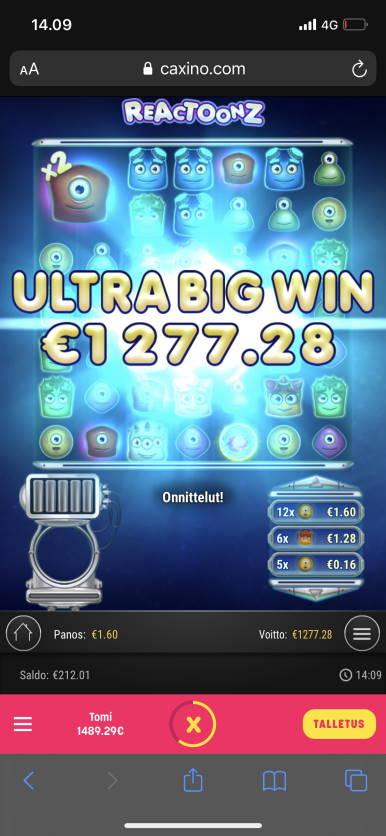 Reactoonz Casino win picture by Turboburo 21.1.2021 1277.28e 798X Caxino