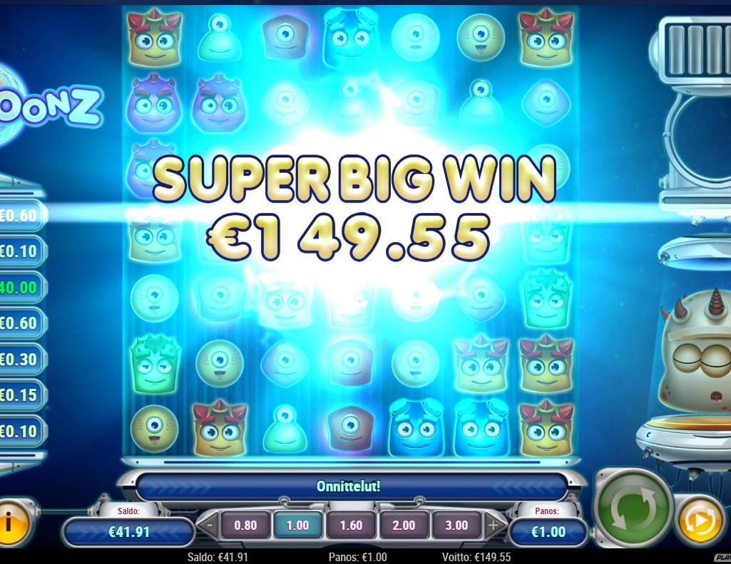 Reactoonz Casino win picture by Vilutso 8.2.2021 149.55e 150X