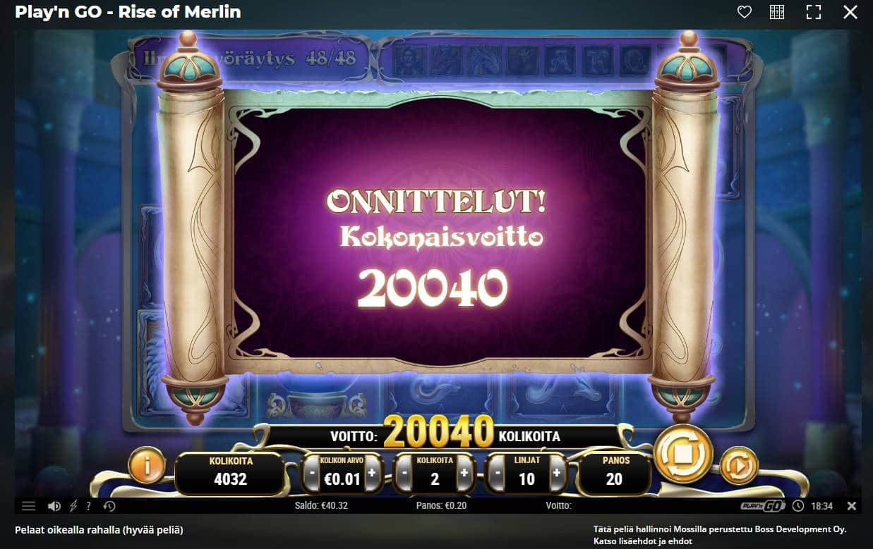 Rise of Merlin Casino win picture by Henkka1986 24.1.2021 200.40e 1002X