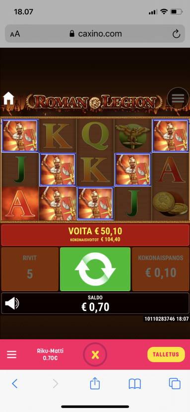 Roman Legion Casino win picture by Rixxah 13.2.2021 104.40e 1044X Caxino