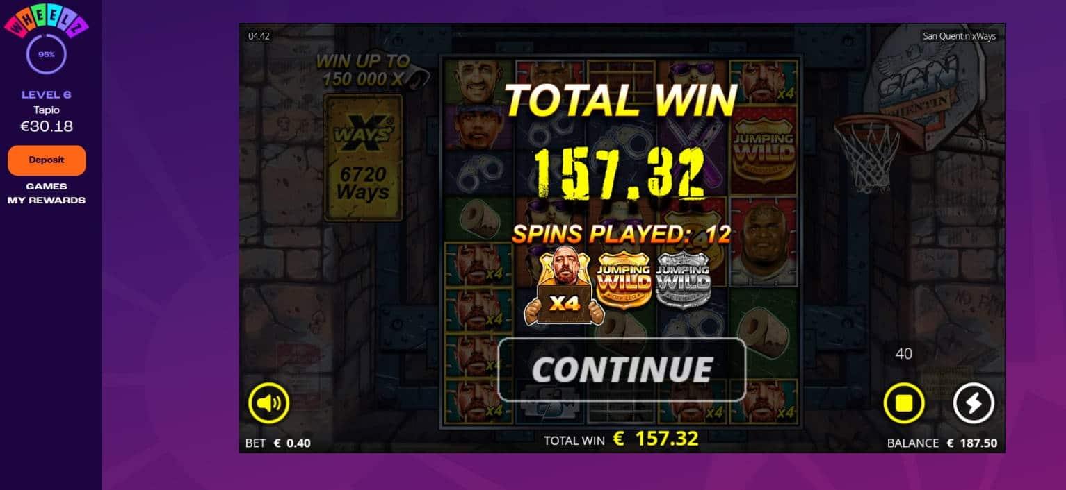 San Quentin Casino win picture by Mrmork666 28.1.2021 157.32e 393X Wheelz