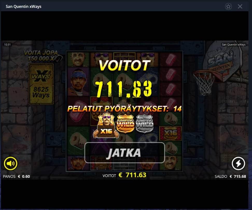 San Quentin Casino win picture by Mrmork666 28.1.2021 711.63e 1186X Vulkan Vegas