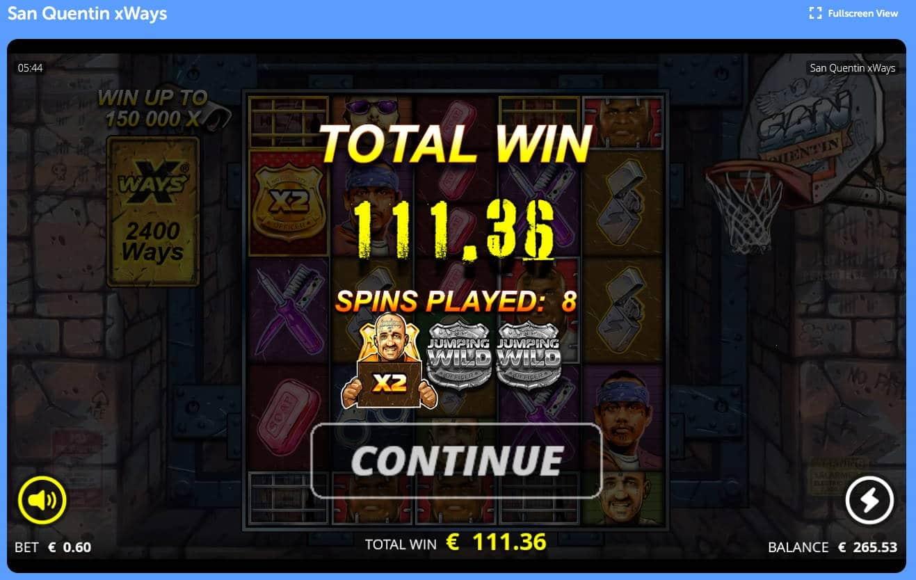 San Quentin Casino win picture by Mrmork666 6.2.2021 111.36e 186X