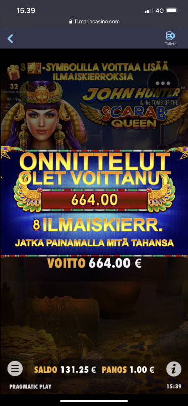 Scarab Queen Casino win picture by aki_2772 1.2.2021 664e 664X Maria Casino