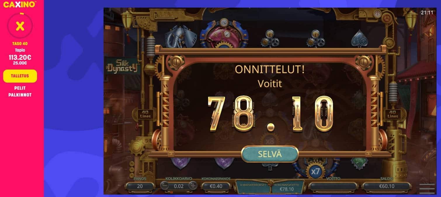 Silk Dynasty Casino win picture by Mrmork666 28.1.2021 78.10e 195X Caxino