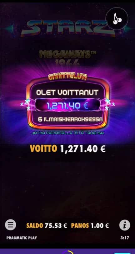 Starz Megaways Casino win picture by Salatheel 21.1.2021 1271.40e 1271X Wildz