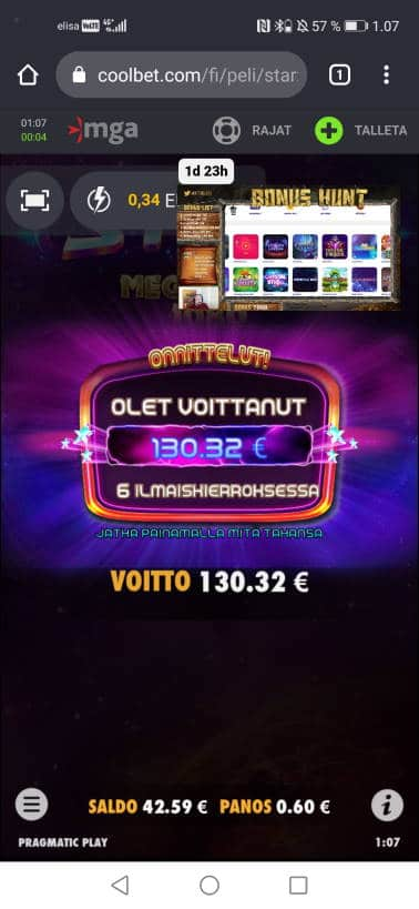 Starz Megaways Casino win picture by jyrkkenkloppi 6.2.2021 130.32e 217X Coolbet