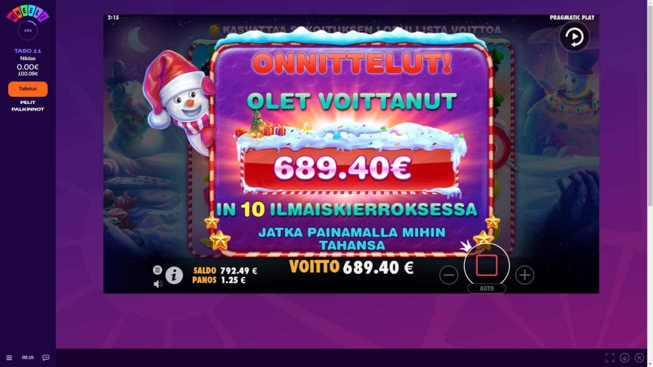 Sweet Bonanza Xmas Casino win picture by MurdoX 16.1.2021 689.40e 552X Wheelz