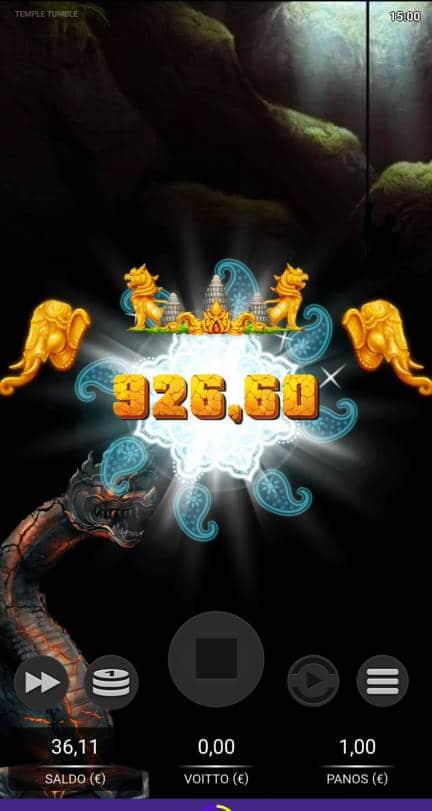 Temple Tumble Casino win picture by Salatheel 19.1.2021 926.60e 927X Wildz