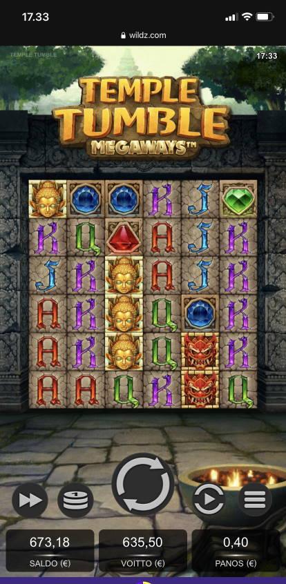 Temple Tumble Megaways Casino win picture by vesselis 15.1.2021 635,50e 1589X Wildz
