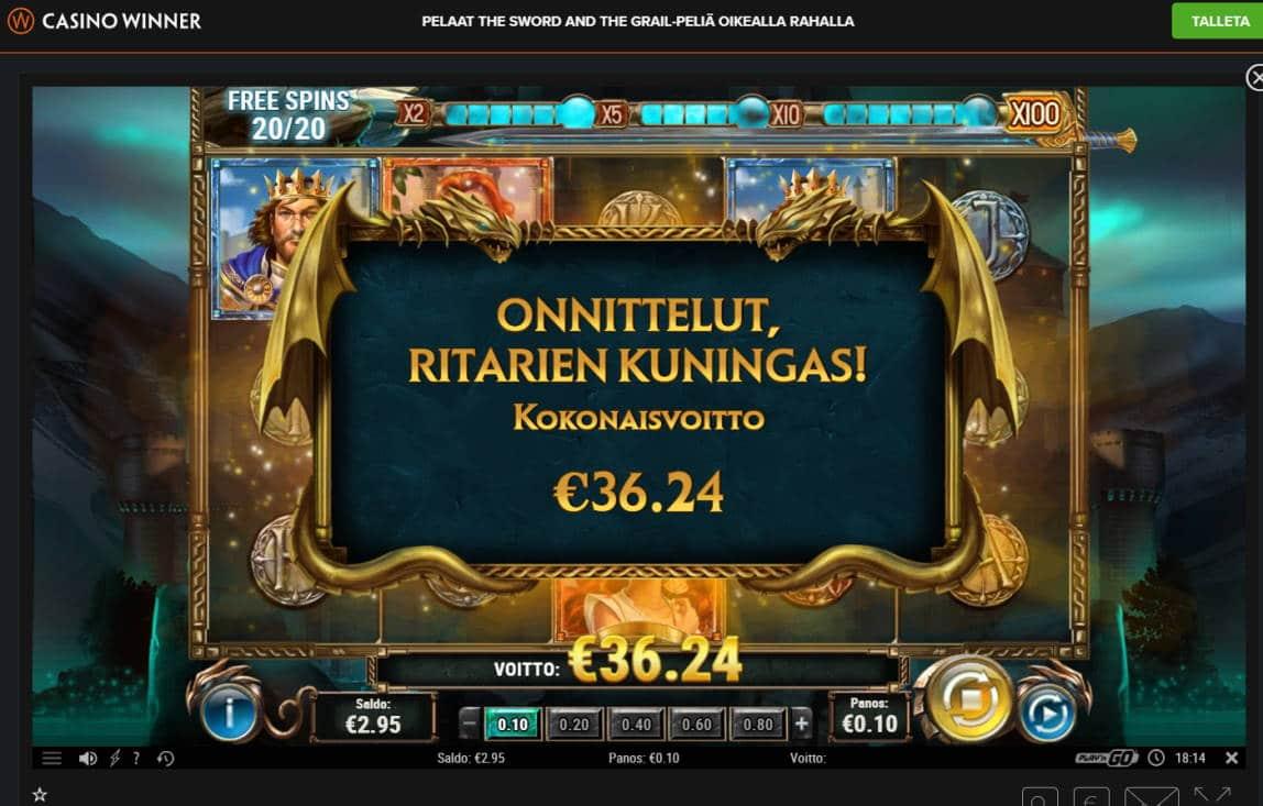 The Sword and the Grail Casino win picture by Banhamm 24.1.2021 36.24e 362X Casino Winner