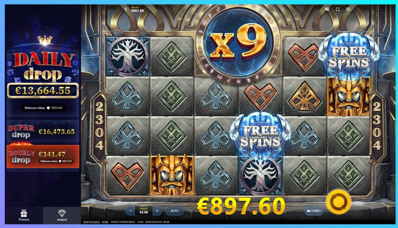 Thors Vengeance Casino win picture by Orava 13.2.2021 897.60e 449X