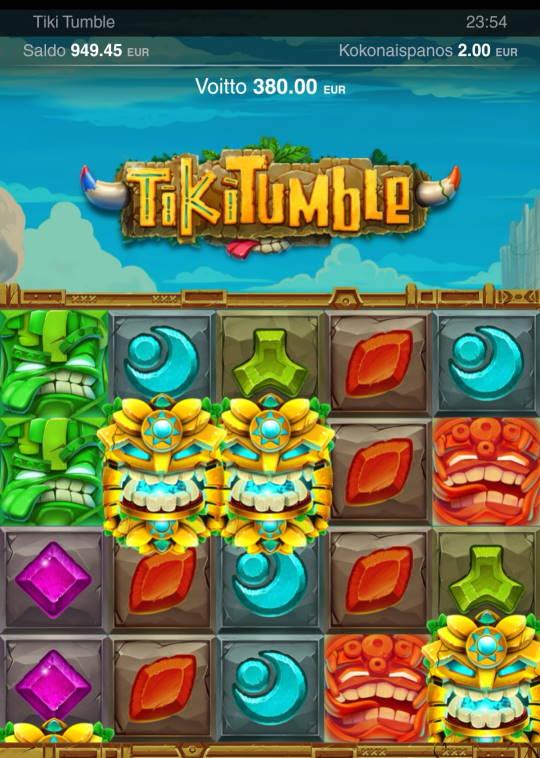 Tiki Tumble Casino win picture by jyrkkenkloppi 1.2.2021 380e 190X