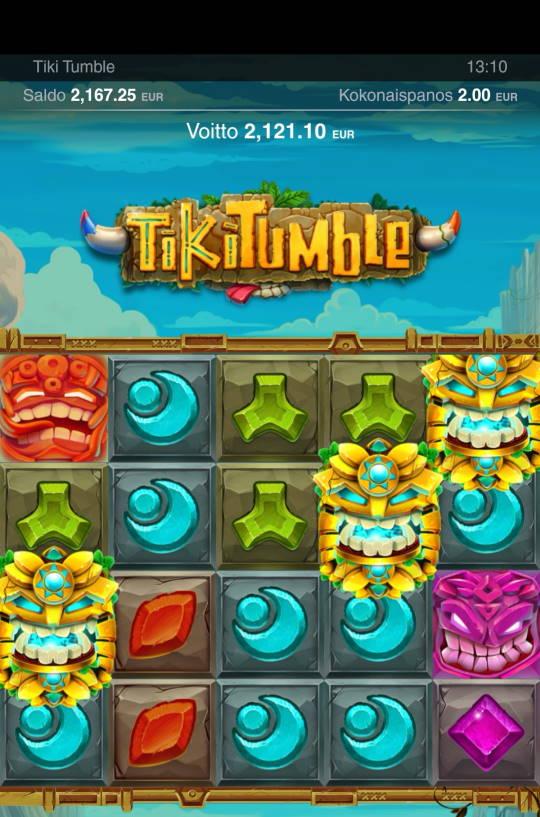 Tiki Tumble Casino win picture by jyrkkenkloppi 15.2.2021 2121.10e 1061X