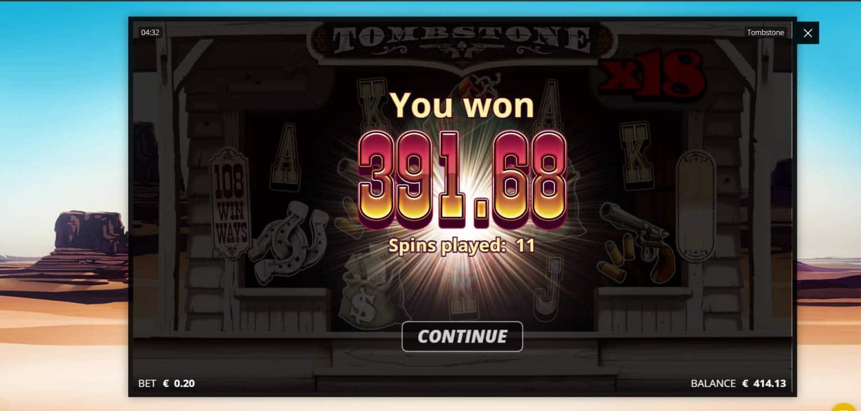 Tombestone Casino win picture by jonkki 21.1.2021 391.68e 1958X
