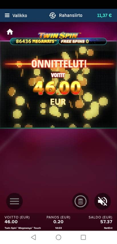 Twin Spin Megaways Casino win picture by Hookos 19.12.2020 46e 230X Veikkaus