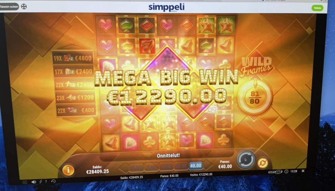 Wild Frames Casino win picture by Pottijussi 1.2.2021 12290e 307X Simppeli