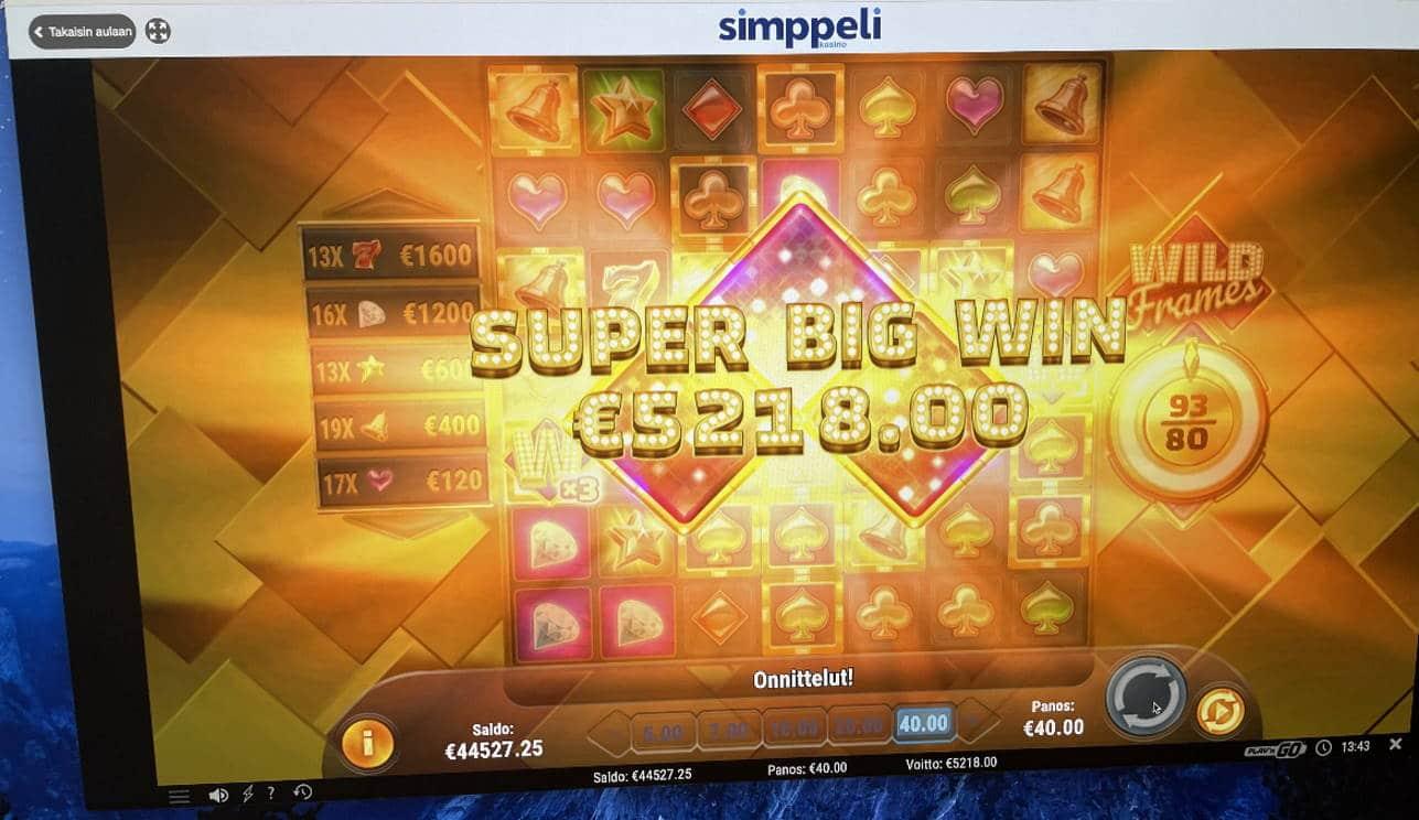 Wild Frames Casino win picture by Pottijussi 1.2.2021 5218e 130X Simppeli