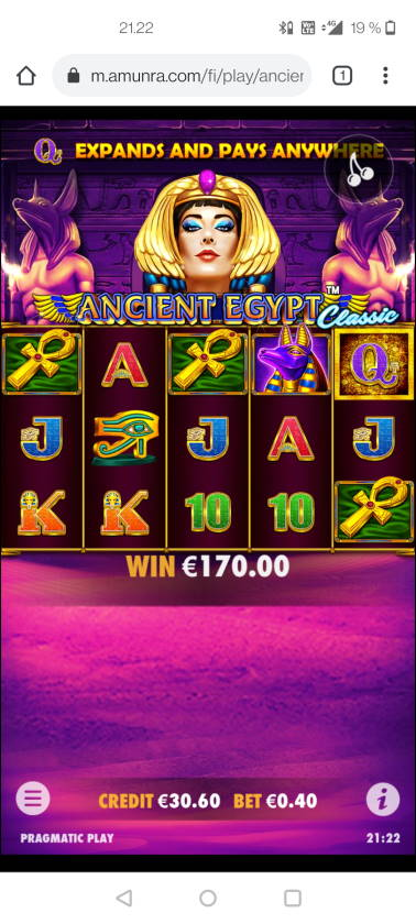 Ancient Egypt Classic Casino win picture by Gestede15 10.3.2021 170e 425X Amunra