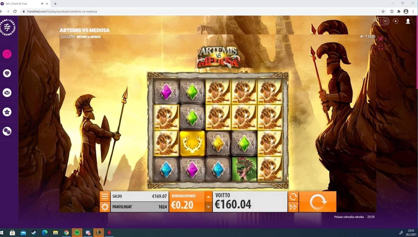 Artemis vs Medusa Casino win picture by Tomezu 20.2.2021 160.04e 800X Frank & Fred