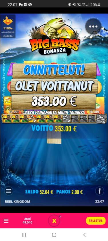 Big Bass Bonanza Casino win picture by dj_niemi 19.3.2021 353e 177X Caxino
