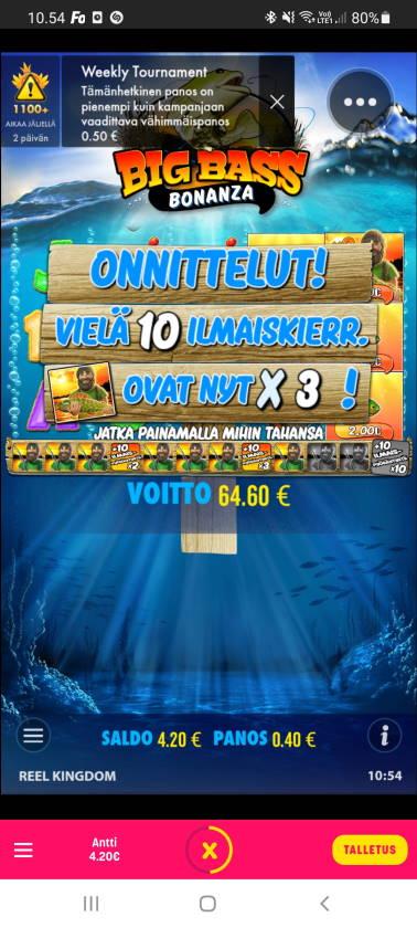 Big Bass Bonanza Casino win picture by dj_niemi 22.2.2021 64.60e 162X Caxino