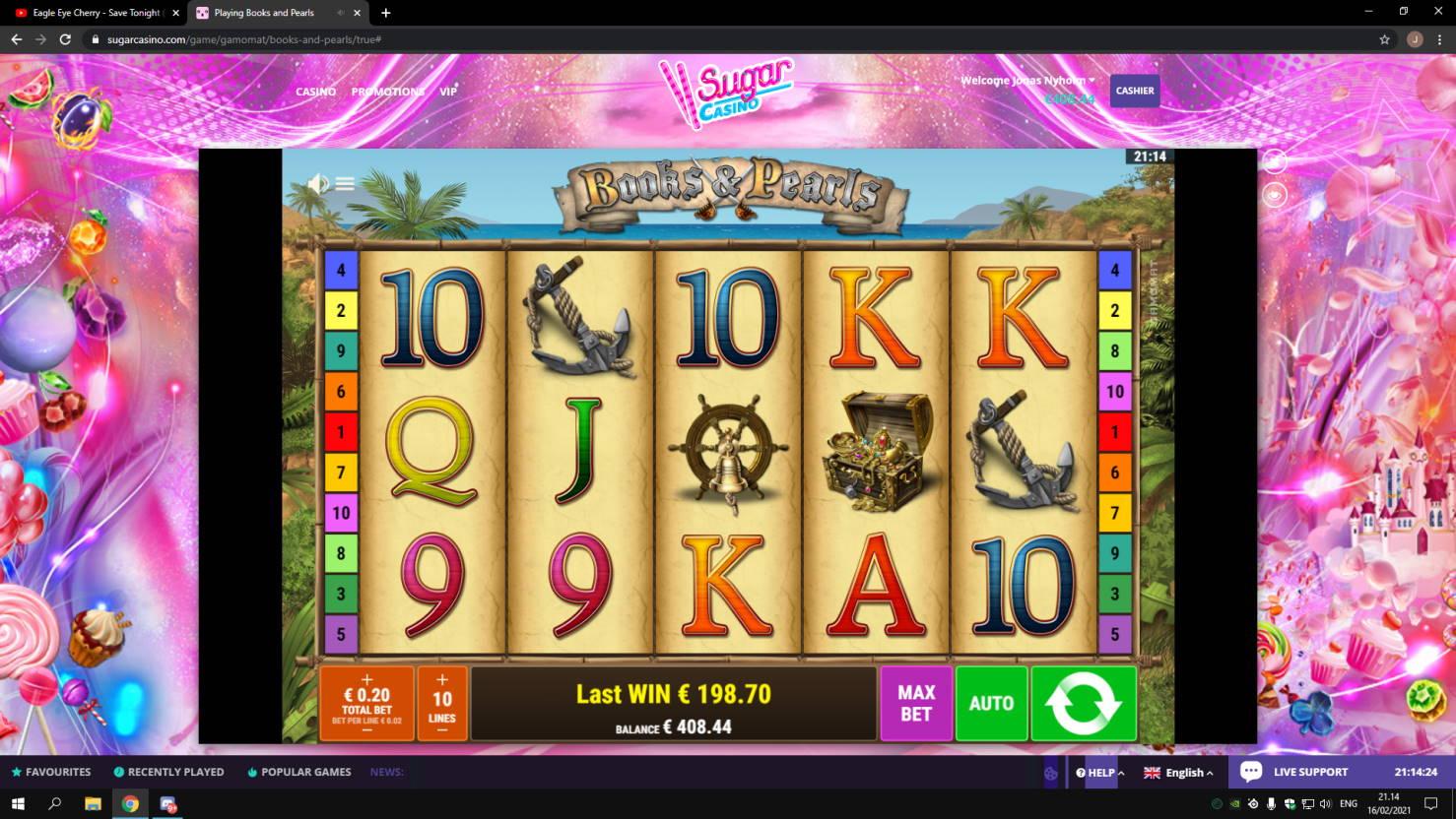 Book and Pearls Casino win picture by jonkki 16.2.2021 198.70e 994X Sugar Casino