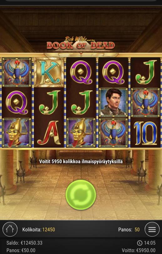 Book of Dead Casino win picture by Sonefinland 22.2.2021 5950e 119X
