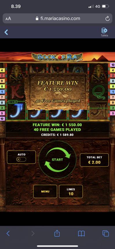 Book of Ra Deluxe Casino win picture by aki_2772 2.3.2021 1550e 775X Maria Casino
