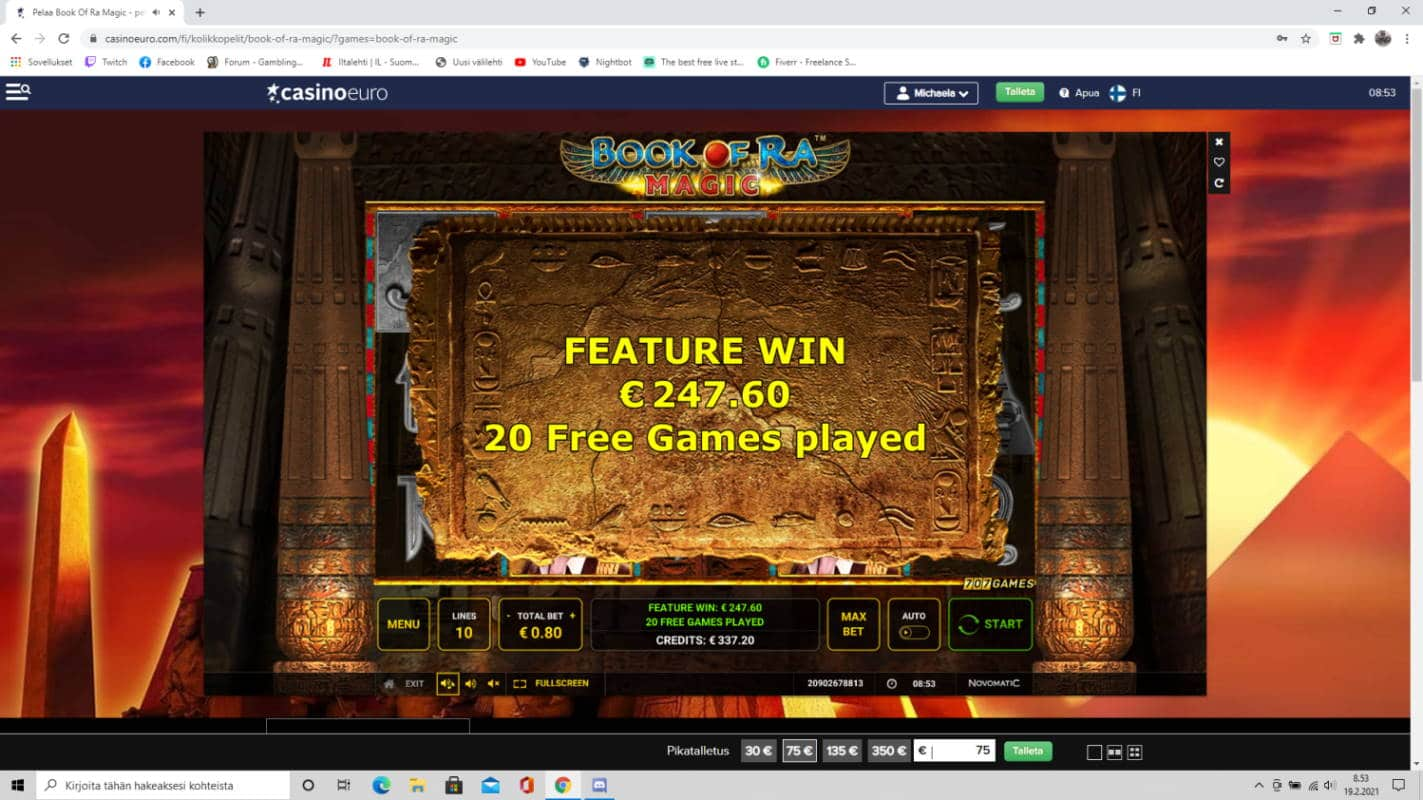 Book of Ra Magic Casino win picture by tiikerililja87 19.2.2021 247.60e 310X Casino Euro