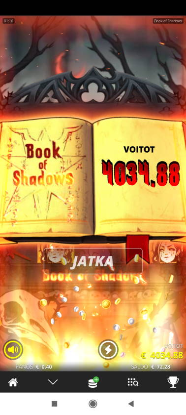 Book of Shadows Casino win picture by terskamies 20.3.2021 4034.88e 10087X