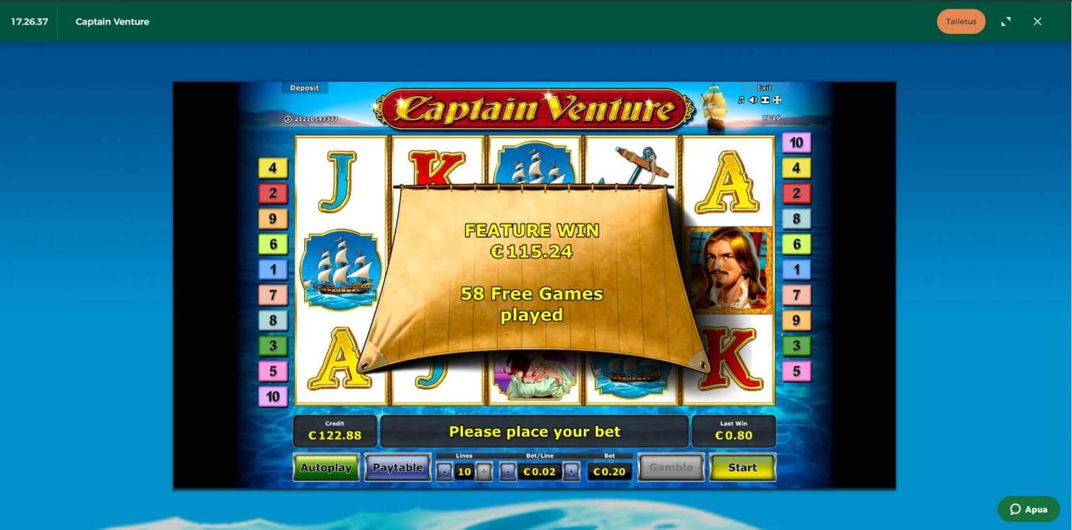 Captain Venture Casino win picture by Henkka 26.2.2021 115.24e 576X