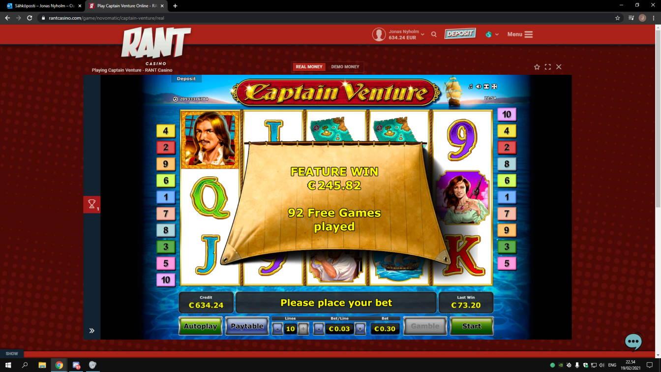 Captain Venture Casino win picture by jonkki 19.2.2021 245.82e 819X Rant Casino